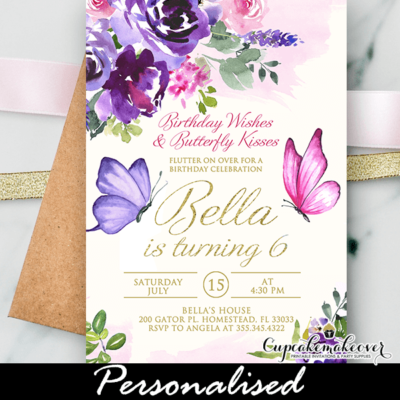 Butterfly Birthday Invite Gold Pink Purple theme