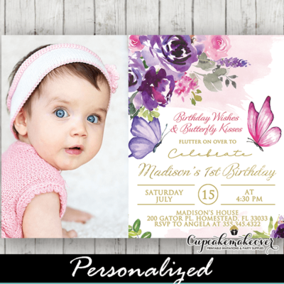 butterfly birthday photo invitations gold pink purple floral spring
