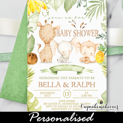 greenery tropical jungle baby shower invitation safari animals theme
