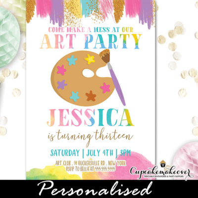 Art Palette Paint Party Invites studio painting birthday ideas