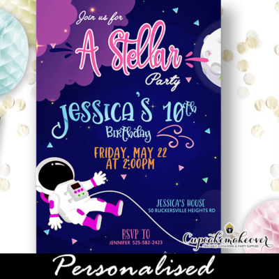 astronaut nebula outer space birthday invitations girl boy theme ideas