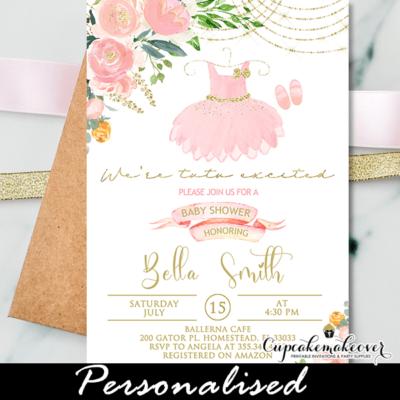 Ballerina Baby Shower Invites Pink Gold Ballet Tutu