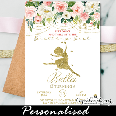 Ballerina Birthday Invitations, Gold Pink White Ballet Party tutu cute