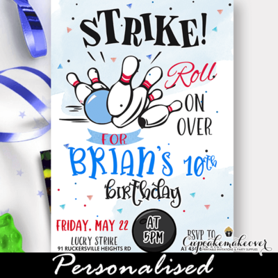 blue bowling birthday party invites boy theme ideas
