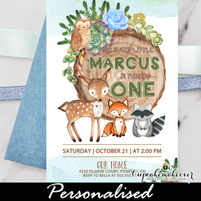 Blue Succulent Woodland First Birthday Invitations Boy