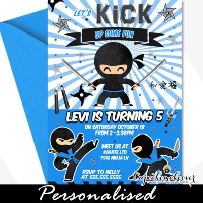 Blue Sunburst Ninja Warrior Birthday Invites