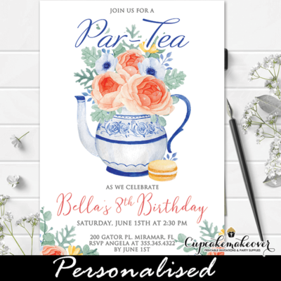 blue vintage tea pot floral tea party invitations girl birthday theme