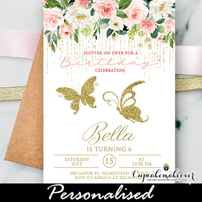 Blush Pink White Flowers Gold Butterfly Birthday Invite birthday party