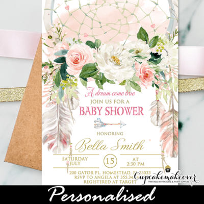 Boho Floral Dream Catcher Baby Shower Invitation girl Pink Gold