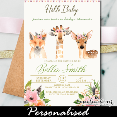 Boho Forest Animals Baby Shower Invitations Girl