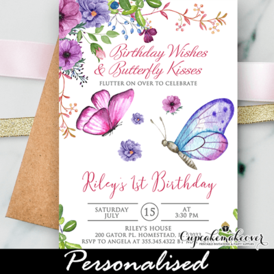 butterfly birthday invite pink purple spring bouquet
