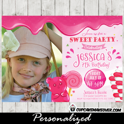 Candyland Birthday Photo Invitation Sweet Shoppe Party pink girl