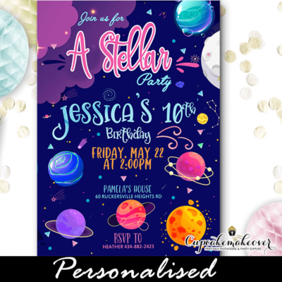 deep space birthday invitations outer planets boy girl theme ideas