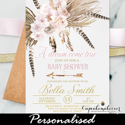 Feathers Roses Boho Baby Shower Invitations gold pink girl