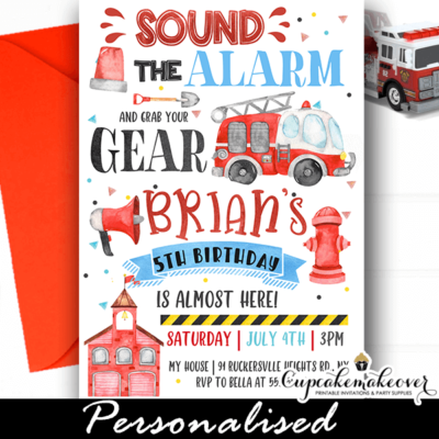firetruck birthday invites firefighter theme party ideas