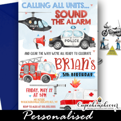 first responders invitation police fire truck ambulance birthday party