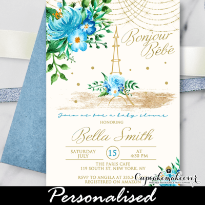 Floral Blue Gold Paris Themed Baby Shower Invites