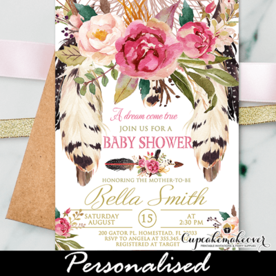 floral boho dream catcher baby shower invitation tribal arrow