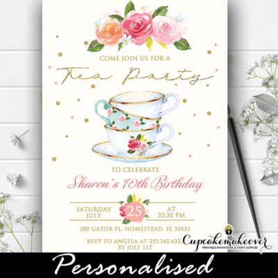Floral Gold Trim Cups Tea Party invites vintage Victorian classy birthday theme girls