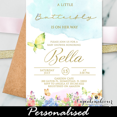 Floral Meadow Butterfly Baby Shower Invitations
