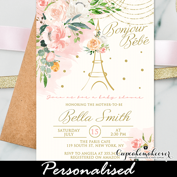 Fl Pink Gold Paris Themed Baby