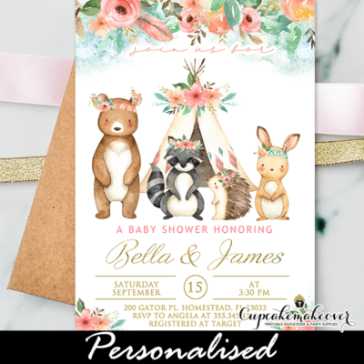 Pink Gold Tribal Woodland Baby Shower Invites girl forest animals
