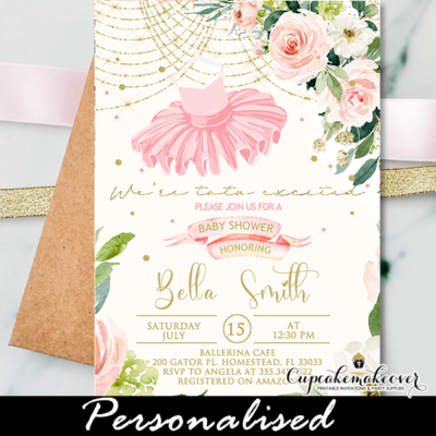 Floral Pink Gold Tutu Baby Shower Invites Ballerina Theme