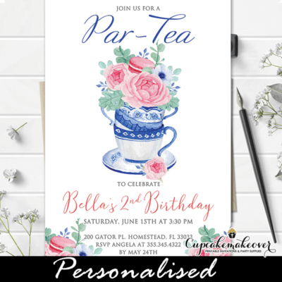 floral pink macarons tea party invitations girl birthday theme