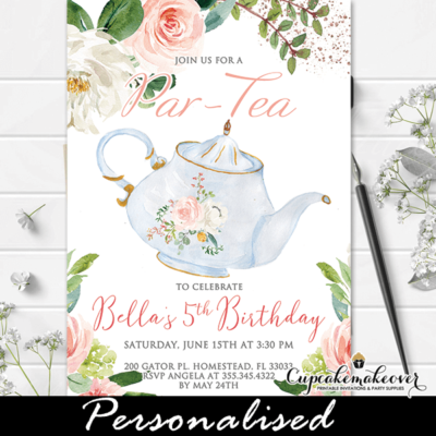 floral pink white vintage teapot tea party invitations girl birthday theme