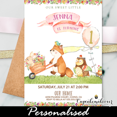 Floral Pink Woodland Birthday Invitations Girl