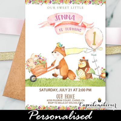 Floral Pink Woodland Birthday Invitations Girl