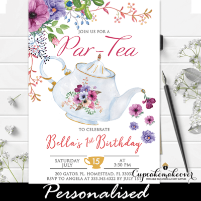 floral purple vintage teapot tea party invitations girl birthday theme