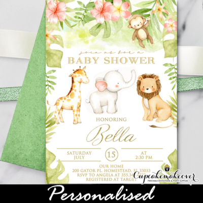 Floral Safari Theme Baby Shower Invitations jungle animals