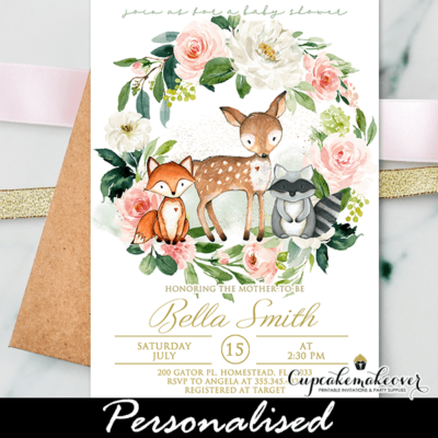 floral wreath woodland baby shower invites pink white girl theme