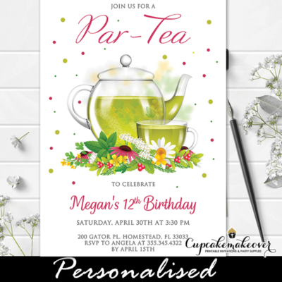 flowering green tea party invitations glass teapot girl birthday ideas