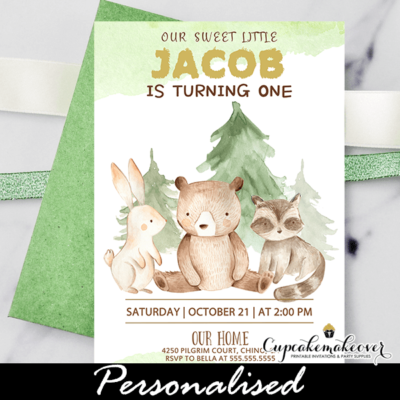 Forest Animals Woodland Birthday Invitations boy 1st first one