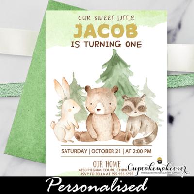 Forest Animals Woodland Birthday Invitations boy 1st first one