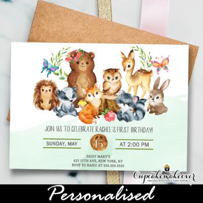Forest Animals Woodland Birthday Party Invitations