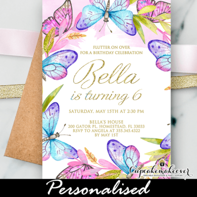 Garden Butterfly Birthday Party Invites Pink Purple Teal gold