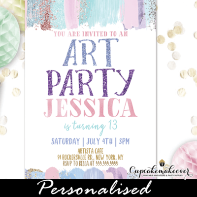 glitter pastel brush strokes art party invitation girl paint birthday theme