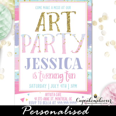 Gold Pastel Stripes Art Party Invites artist birthday theme