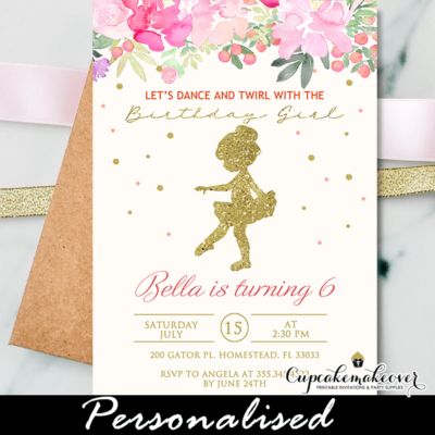 gold pink floral tutu birthday invitations baby ballerina ballet girl