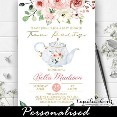Gold Pink Roses Baby Shower Tea Party Invitations