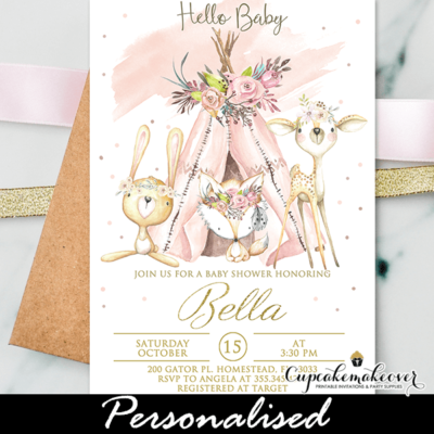 Pink Tribal Woodland Baby Shower Invites forest animals