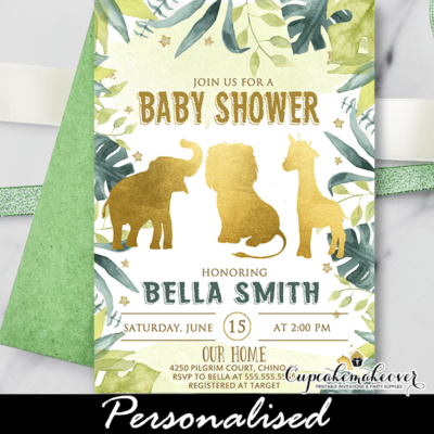 Gold Safari Animals Jungle Baby Shower Invite