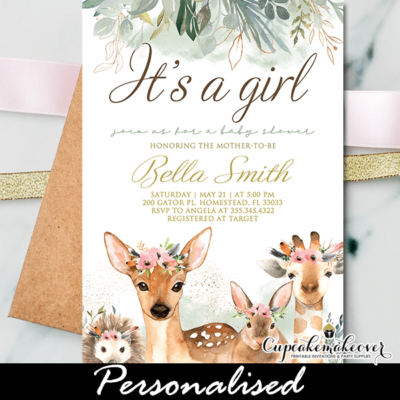 Greenery Forest Animals Baby Shower Invitations Girl