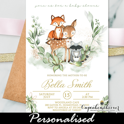Greenery Gold Woodland Baby Shower Invites gender neutral boy girl forest animals