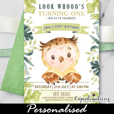 Greenery Owl Birthday Invitations boy party theme