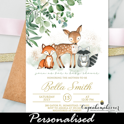 Greenery Woodland Animals Baby Shower Invites