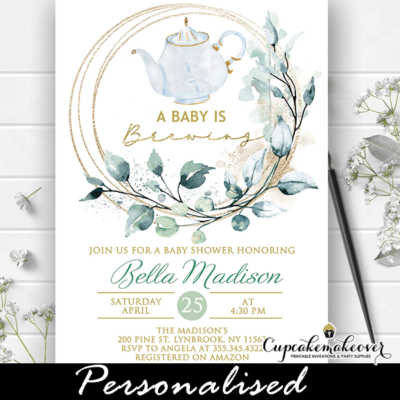 greenery wreath baby shower tea party invitations gender neutral theme